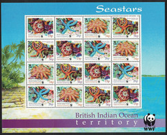 BIOT WWF Sea Stars 4v Sheetlet Of 4 Sets 2001 MNH SG#253-256 MI#266-269 SC#231-234 BELOW FACE VALUE - Territoire Britannique De L'Océan Indien