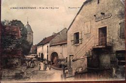 CHAUMERCENNE (70 - Haute Saône) RUE DE L EGLISE,éd Fraumont, Colorisée, Animée, Enseigne épicerie Mercerie - Andere Gemeenten