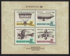 Hungary Parachuting Helicopters Zeppelins MS 1967 MNH SG#MS2267 CV£10.- - Ongebruikt