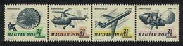 Hungary Modern Parachuting Helicopters Zeppelins Strip Of 4 1967 MNH SG#2268-2271 CV£8.80 - Ongebruikt