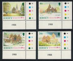 Jersey Christmas Jersey Parish Churches 1st Series 4v SE Corners 1988 MNH SG#458-461 - Jersey
