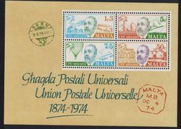 Malta Centenary Of UPU MS 1974 MNH SG#MS531 - Malta