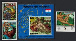 Paraguay Paintings By Michelangelo Buonarroti 3v+MS 1975 MNH MI#2588-2590+Block 249 CV€25.- - Paraguay