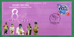 INDIA 2021 Inde Indien - INTERNATIONAL WOMEN'S DAY - SPECIAL POSTMARK COVER - Hyderabad 08.03.2021 - COVID-19 Mask - Other