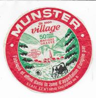 ETIQUETTE DE FROMAGE 17 CM MUNSTER DE MON VILLAGE SAULXURES LES BAINS - Cheese