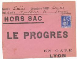 HORS SAC ENV OUVERT CISEAUX SUR 3 COTE RABAT MANQUANT DONZERE 1942 - 1921-1960: Modern Period