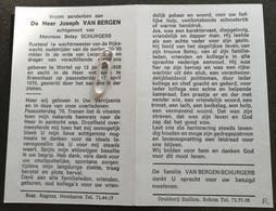 JOSEPH VAN BERGEN ° WORTEL 1908 + BRASSCHAAT 1976 / BETSY SCHURGERS /RUSTEND 1e WACHTMEESTER RIJKSWACHT - Devotion Images