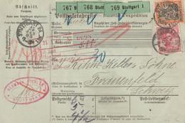 Allemagne Bulletin D'expédition Stuttgart Pour La Suisse 1905 - Storia Postale