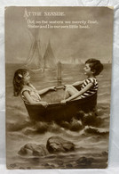 Boy & Girl, At The Seaside, Little Boat, EAS 526, 1910 Used, Children Postcard - Scenes & Landscapes