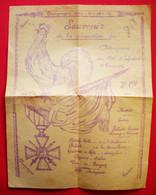 Ww1 Menu Tract 1917 Souvenir Décoration Du Drapeau Du 151 RI 3° Cie Sans éditeur Dos Scanné - Menú