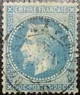 N°29B. Napoléon 20c Bleu. Cachet  Bordeaux à Paris - 1863-1870 Napoléon III. Laure