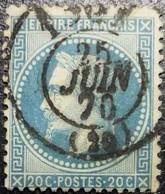 N°29B. Napoléon 20c Bleu. Oblitéré CàD - 1863-1870 Napoléon III. Laure