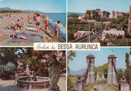 SESSA AURUNCA-CASERTASALUTI DA..-MULTIVEDUTE--CARTOLINA VERA FOTO -VIAGGIATA IL 5-6-1974 - Caserta