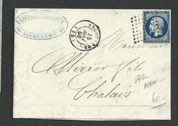 Charente , Angoulème , P C 83 Sur N° 14 Bleu Noir Cachet T 15 Du 16 Mai 1856 - 1849-1876: Klassik