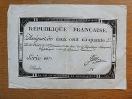 Assignat £250 Et Banque De France Versement D'or - Historical Documents