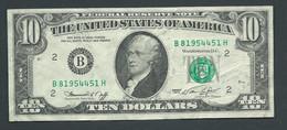 ETATS UNIS  -  Billet , USA=1974 New York 10 Dollars Note  -  B 81954451H   -  Laura 6407 - Federal Reserve (1928-...)