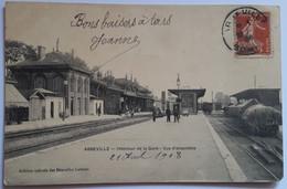 Carte Postale Abbeville Intérieur De La Gare Vue D'ensemble Animation 1908 - Abbeville