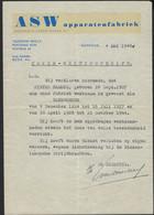 NIJMEGEN * 1948 * GETUIGSCHRIFT VAN TEWERKSTELLING * A S W APPARATENFABRIEK * PIETER HAMMES * - Historical Documents