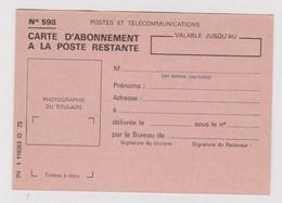 Carte D'abonnement à La Poste Restante Neuve Référence IN 1 110353 O 72 - Documenti Della Posta