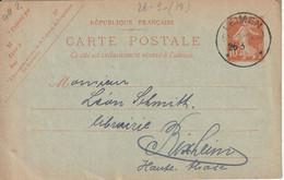 France Alsace Cachet Allemand Leimen Sur Entier Postal Français 1919 - Alsazia Lorena