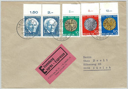 Schweiz Pro Patria 1964, Expressbrief Lausanne Court - Zürich, Münzen / Monnaies / Coins - Covers & Documents