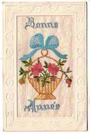Carte Brodée Bonne Année - Panier De Fleurs - écrite 1922 - Embroidered