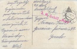 "AK POSTCARD WW1  AUSTRIA K.U.K. KRIEGSMARINE - S.M.SCHIFF "" MARS  ""   - VIAGGIATA 1917 -  P55 - Guerra"