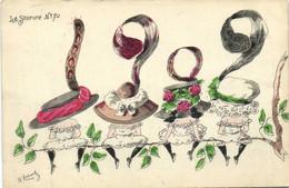 Illustrateur Signé Tg Robert 4 Jeunes Femmes De Dos Assises  Avec Des Beaux Chapeaux  RV - Mujeres