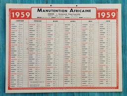 Grand Calendrier De Bureau 1959 Manutention Africaine Dakar Sénégal - Tamaño Grande : 1941-60