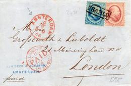 6 8 66    NVPH 4 En  5 Met FRANCO-kastje Op Brief Van AMSTERDAM Met Uurstempel Naar Londen - Brieven En Documenten