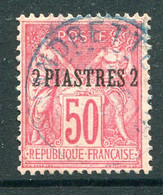 French Levant 1886-1901 2pi On 50c Rose Used (SG 5) - Used Stamps