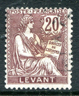 French Levant 1902-20 20c Purple-brown Used (SG 16) - Usati