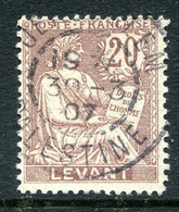French Levant 1902-20 20c Purple-brown Used (SG 16) - Used Stamps