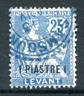 French Levant 1902-20 Surcharges - 1pi On 25c Blue Used (SG 19) - Used Stamps