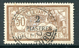 French Levant 1902-20 Surcharges - 2pi On 50c Brown & Lavender Used (SG 20) - Used Stamps