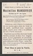 ABL, Maximilien Manouvrier , Né à Frameries Le 10 Février 1893 Tombé Au Champ D'honneur Le 18 Août 1914 à Aerschot - Obituary Notices