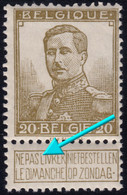 """✔️ België 1912 - Roi Albert I  Pellens - Gebroken """"L"""" Déformé  - OBP 112 ** MNH Luxe Postfris - €60 - Unclassified"""
