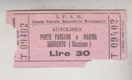 Biglietto Ticket Strade Ferrate Secondarie Meridionali - Ponte Parsano / Sorrento - Europe