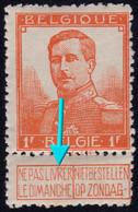"✔️ België 1912 - Roi Albert I  Pellens - Doorlopende ""V"" - OBP 116 ** MNH Postfris - Unclassified"