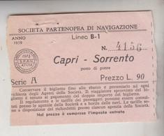 Biglietto Ticket Societa' Partenopea Di Navigazione - Capri / Sorrento 1959 - Europe