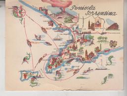 SORRENTO NAPOLI PENISOLA SORRENTINA CARTINA MAP ILLUSTRATA - Napoli (Napels)