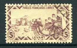 French Levant - Free French Forces - 1942 Postage - 5f Claret Used (SG 14) - Usati