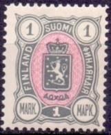 FINLAND 1889-1900 1mk Grijsrood Wapentype Drie Cijfers  PF-MNH - Neufs
