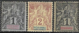 Diego-saurez  1892-4   Sc#25-6, 38   3 Diff MNG  2016 Scott Value $6.75 - Unused Stamps