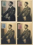 HITLER - 2* World War - Complete Set Of Four Postcards For Hitler 53° Year - RARO - Timbro Praga 20/04/1942 (5 Images) - Personnages