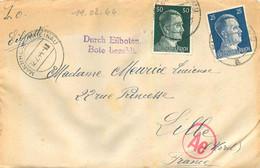ENVELOPPE ET COURRIER ENVOYE DE MANNHEIM FIRMA SCHUTTE  LANZ EN 02/1944  TIMBRE HITLER  SOLDAT MEURICE GEORGES - WW II