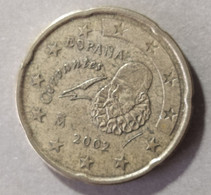 2002 -  SPAGNA  - MONETA IN EURO - DEL VALORE DI 20  CENTESIMI  - USATA - Spanien