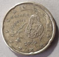 2009  -  SPAGNA  - MONETA IN EURO - DEL VALORE DI 20  CENTESIMI  - USATA - Spanien