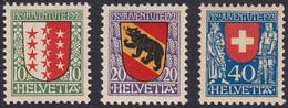 SUISSE, 1921, Armoirie De Cantons   (Yvert 185-186-187) - Nuevos