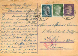 CARTE DE CORRESPONDANCE ENVOYEE  DE MANNHEIM FIRMA SCHUTTE  LANZ EN 02/1944  TIMBRE HITLER  SOLDAT MEURICE GEORGES - WW II
